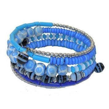 Five Turn Bead and Bone Bracelet - Light Blues - CFM