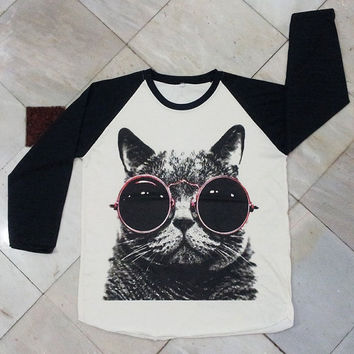 Cat Red Glasses T-Shirt -- Cat T-Shirt Women Shirt Unisex Shirt Baseball Shirt Raglan Shirt Raglan Tee Baseball Tee Long Sleeve Shirt Size M