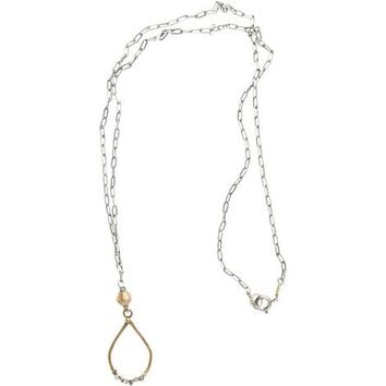 Long Raw Diamond Teardrop Pendant Necklace