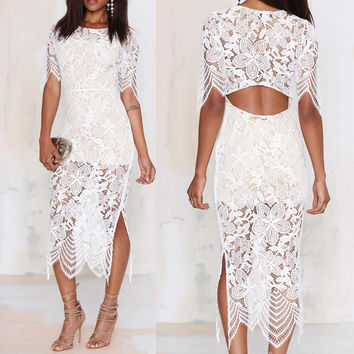 White Crochet Lace Half Sleeve Back Cut Out Bandage Midi Dress
