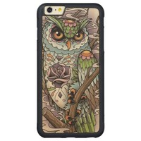 Day of the Dead Sugar Skull Owl Carved Maple iPhone 6 Plus Bumper Case