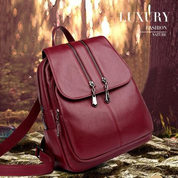Laptop Women Leather Backpack Satchel School Bag