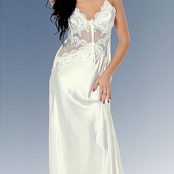 Nightgown - Bridal Venice Lace & Charmeuse w/Lace-up Back (Small, Large, 3X)