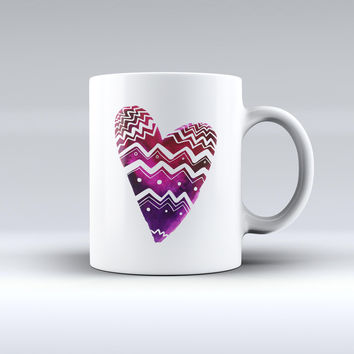 The Vivid Colorful Chevron Water Heart ink-Fuzed Ceramic Coffee Mug