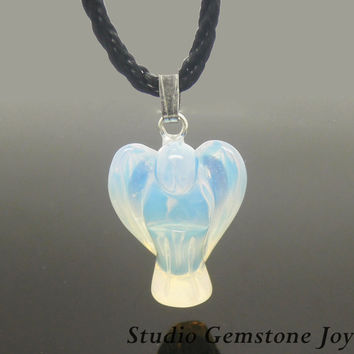 1PC Manmade Opal Healing Crystal Angel Pendant Necklace, Birthday Gift, Best Friendship Necklace