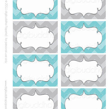 Ava Modern Chevron Label INSTANT DOWNLOAD. Printable. Stickers, Table and Favor Tags. Tiffany Blue & Gray.