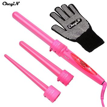 CkeyiN Pro Multifunction 3 Parts Curler Hair Curling Curlers Irons Tong Curl Wand Hair Curler Roller Gift Set With Glove HS54RQ