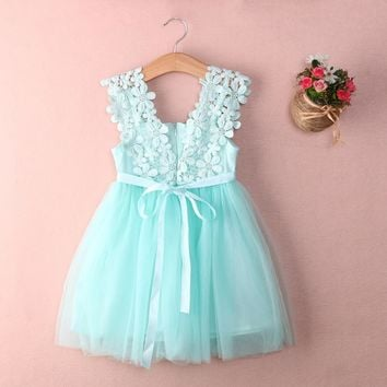NWT Baby Girls Dress Sleeveless Kawaii Princess Lace Tulle Flower Summer Dress Tutu Backless Party Dresses