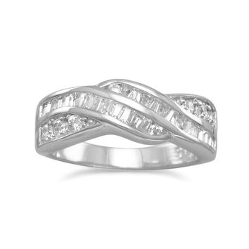 Rhodium Plated Baguette and Round CZ Twist Ring
