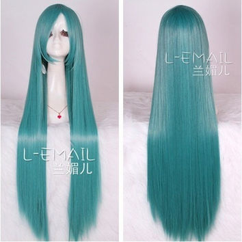 New Arrival 100cm Super Long Aqua Green Anime Straight Cosplay Party Wig