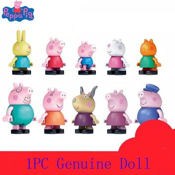 1 pc Genuine Peppa Pig figure --Peppa Groge Daddy Mommy Suzy Sheep & friend Collect Build & Play Compatible with legoe