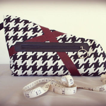 houndstooth clutch asymmetrical purse - black and white cool shape oversize clutch with red leather details - ready made by Needless Studio