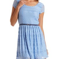 Belted Lace Skater Dress by Charlotte Russe
