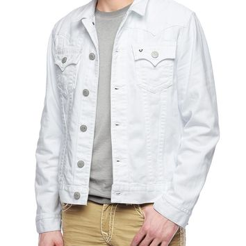 True Religion Jimmy Mens White Denim Jacket - Optic White