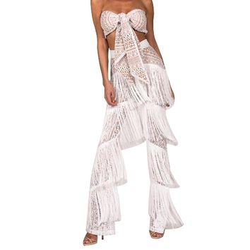 Jumpsuits for women summer hollow out tassel 2 piece rompers womens jumpsuit long pants sleeveless ladies outfit