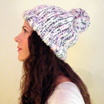 Chunky Knit Hat, Pom Pom Hat Chunky Slouchy Hat Chunky Knitted Hat Knit Pom Hat Slouchy Beanie in White Pink Purple THE COOPER Ready to Ship