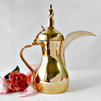 Vintage Dallah Arabic Coffee Teapot, Long Spout Hinged Top, Gold Finish Stainless Steel Turkish Coffee Pot, Ewer Pitcher Made in ROK