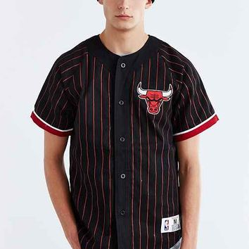 Mitchell & Ness NBA Chicago Bulls Baseball Jersey- Black