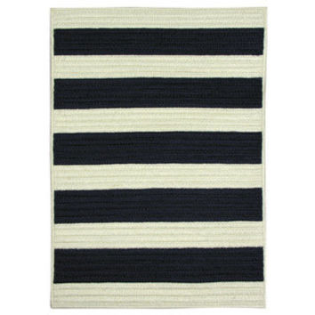 Nautical Stripe Navy Braided Rug | Overstock.com