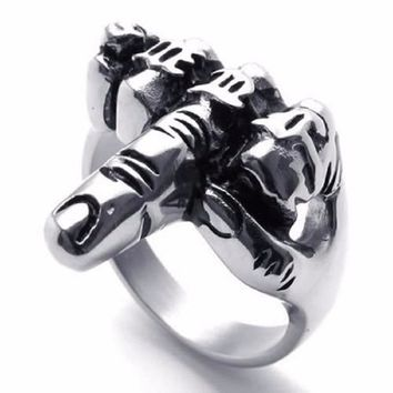Men's Biker Middle Finger Up Stainless Steel Ring