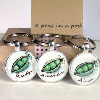 3 friendship key chain, 3 best friends, 3 peas in a pod