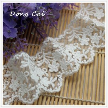 New DIY 4 yards/lot Width 4.2cm milk white mesh lace fabrics/Wedding dress tablecloth curtains doll lace decorating accessory