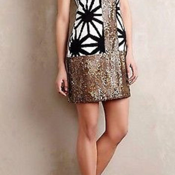 Anthropologie Karimata Dress Gold Sequins by Tabitha Sz 6 - NWT