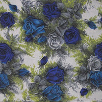 One Yard Cut Plus of 1950s Beautiful Blue & Gray Roses Fabric with Greenery, Home Decorating Cotton Fabric, ~~by Victorian Wardrobe