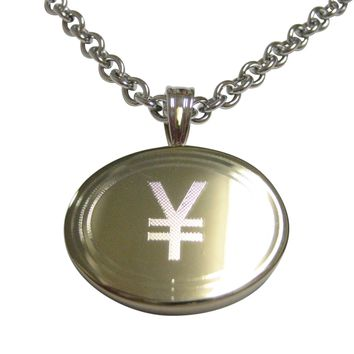 Gold Toned Etched Oval Japanese Yen Currency Sign Pendant Necklace