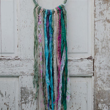 Bohemian Dreamcatcher, Romantic, Green, Blue, Pink, Vintage Lace, Cottage Wall Art, Hippie Decor, Boho, Wall Hanging, Shabby Chic Home Decor