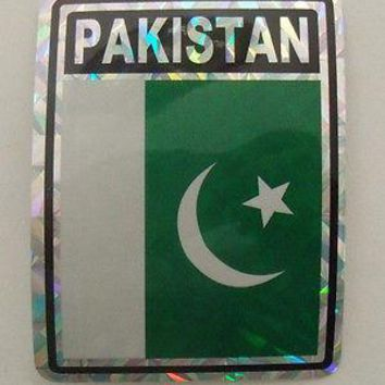 "Pakistan Flag Reflective Sticker 3""x4"" Inches Adhesive Car Bumper Decal"