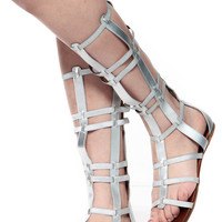 Bamboo Silver Caged Gladiator Sandals