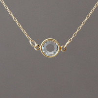 Clear Swarovski Crystal Gold Fill Necklace also in silver
