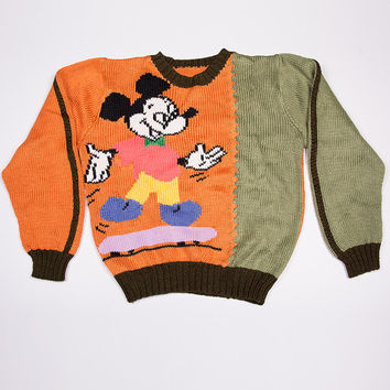 Vintage 80s Mickey Mouse Skateboarding Sweater Jumper