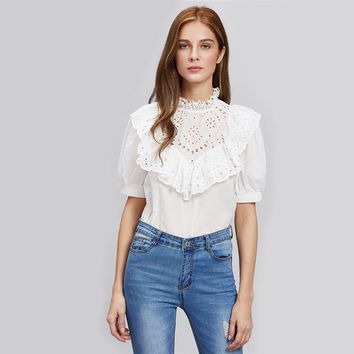 Eyelet Embroidered Elegant Cotton Blouse With Ruffle Button