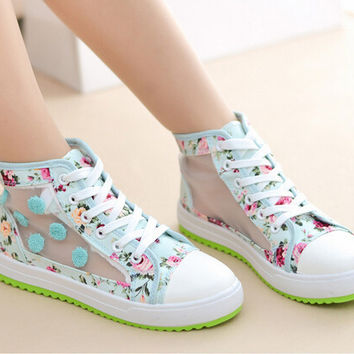 Lovely printing ventilate flat shoes 6984RQ