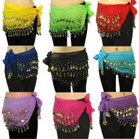 Burning Man Chiffon Belly Dance Hip Scarf 3 Rows Coin Belt Skirt