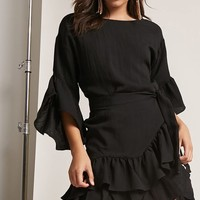 Ruffle Bell-Sleeve Dress
