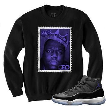"Young Ceo - Jordan 11""Space Jam"" Biggie Small Stamp Black Crewneck"