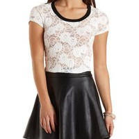 Cropped Lace Tee by Charlotte Russe