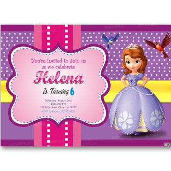 Princess Shofia Polka Dot Colorful Kid Birthday Invitation Party Design