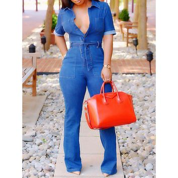 Short Sleeves One Piece Jumpsuit