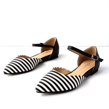 Hot Cake Black and White Striped D'Orsay Flats