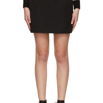 Saint Laurent Black Wool Tuxedo Skirt