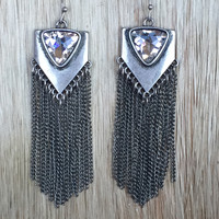 Desert Fringe & Crystal Earrings In Silver