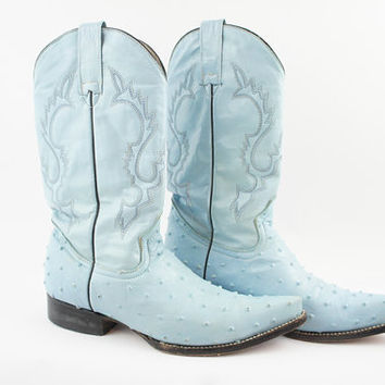 sky blue leather ostrich boots size 9.5 SALE PRICE