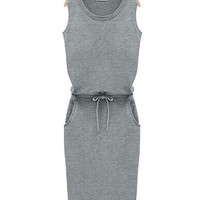 Gray Sleeveless Shirtwaist Drawstring Mini Bodycon Dress