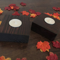 Handcrafted Wood Candle Holders Dark Square Candle Holders Rustic Decor Home Decor