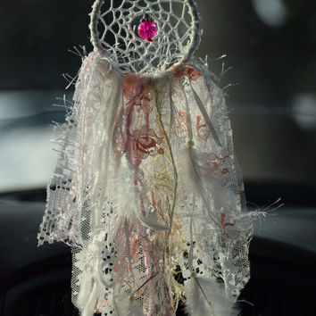 Lace Dream catcher, Small Dream catcher, Car Accessory for women, Rear View Mirror, Car Charm, Car Dream catcher, Bohemian Decor