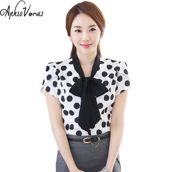 Mujer De Moda Lady Casual Shirt Summer Tops Plus Size Short Sleeve Women Chiffon Black Dot Blouse Ol Elegant Blusas Female Blusa